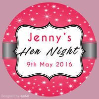 Personalised Hen Party round stickers labels party cone sheet