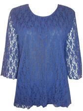 Maglie e camicie da donna blu in pizzo con girocollo