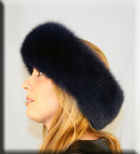 New Navy Blue Fox Fur Headband - Efurs4less
