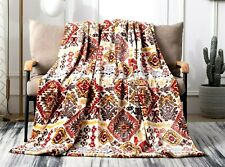 DaDa Bedding Soft Plush Fleece Throw Blanket, Southwestern Aztec Geometric Tribe