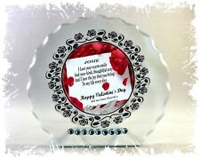Red Rose custom made cut glass Valentine's Day gift personalised for him or her