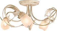 Decorative Leaf Design Elana 3 Light Ceiling Fitting - Cream and Brushed Gold