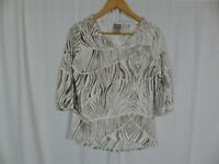Chico's Women's Zebra Print 3/4 Sleeve V Neck Shirt Cotton Blend Size 0 Small