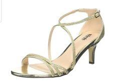 Paradox London Pink Womens Isla Gold Glitter Heeled Sandals Eu 38