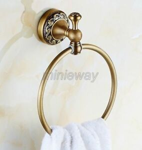 Antique Brass Wall Mounted Circle Towel Ring Holder Bathroom Accessories mba489