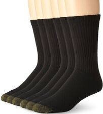 $44 GOLD TOE Men's BLACK CUSHIONED ATHLETIC SPORT CREW SOCKS 6-PACK SHOE 6-12