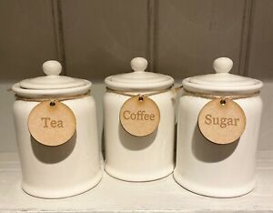 Tea Coffee Sugar Round Wooden Labels Complete With Twine Rustic