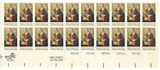 1975 10-cent US stamps Christmas Madonna Child mint partial sheet of 20