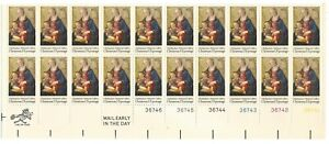 1975 10-cent US stamps Christmas Madonna Child partial sheet of 20