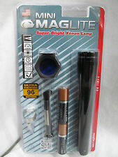 Maglite Mini Mag 2 Cell AA Flashlight Black M2A01C Clip Anti-Roll Lense EB710617