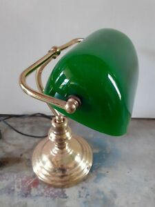 🎬 RETRO CLASSIC BANKERS LAMP/LIGHT. TABLE/DESK LIGHT POLISHED BRASS GREEN SHADE