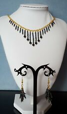 Metallic black beaded multi strand matching necklace & earrings set gold plated