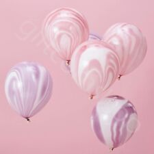 Pink & Purple Marble Balloons Girls Kids Birthday Unicorn Party Decoration x 10