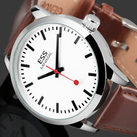 ESS Mens Watch Automatic White Dial Brown Leather 3 Hands Analog Display Luxury
