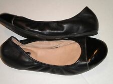 Adam Tucker ballet flats size 10 soft black leather, patent toe pre-owned