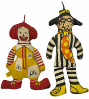 McDonald's Vintage Plush Cloth Dolls Ronald McDonald & The Hamburglar Preowned