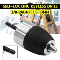 3/8-24 UNF Self-Locking Keyless 1.5-13mm Drill Chuck Converter w/ Hex