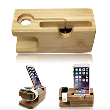 2 in 1 Bamboo Desktop Stand Holder Charger Docking Station For iWatch & iPhone
