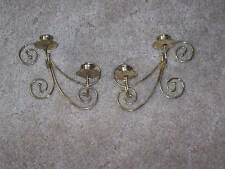 Pair of 2 Old Home Interior Metal Wall Sconces Holds Two Candles Each Gold Color