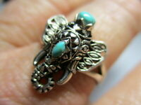 STERLING SILVER 925 ESTATE PETITE BLUE GREEN TURQUOISE ELEPHANT RING SIZE 7.75