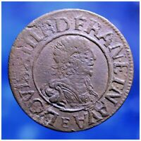 FRANCE LOUIS XIII DOUBLE TOURNOIS 1638 TOURS COIN FRENCH COLONIAL MONEY CANADA