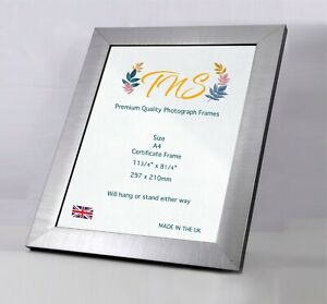 Premium Quality A4 Certificate Brushed Gunmetal Frame Photo Picture Made in UK