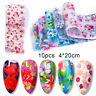 10Pcs Nail Foil Tropical Flowers Butterfly Nail Art Transfer Decals Decoration