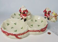 "Vtg 1988 Fitz & Floyd 12"" Divided Christmas Serving Dish + Salt & Pepper Shakers"