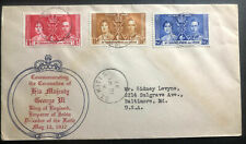 1937 St Kitts And Nevis First Day Cover King George VI Coronation KGVI To Baltim