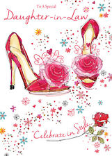 GORGEOUS COLOURFUL PARTY SHOES DAUGHTER-IN-LAW BIRTHDAY GREETING CARD