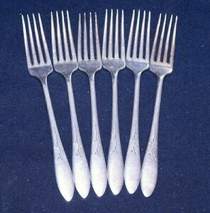 """COMMUNITY SILVER PLATE """"LADY HAMILTON"""" SET OF 6 FORKS, 7.25"""", EX COND"""