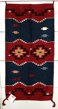 """Throw Rug Tapestry Southwest Western Hand Woven Wool 20x40"""" Replica #205"""