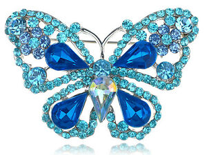 Chic Blue Sapphire Crystal Rhinestone Fairytale Butterfly Insect Brooch Pin Gift