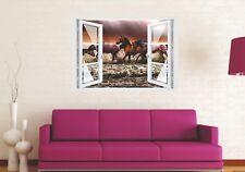 Wandtattoo Fenster 3D Optik Wandsticker Aufkleber Deko Bild - Wild Horses Pferde