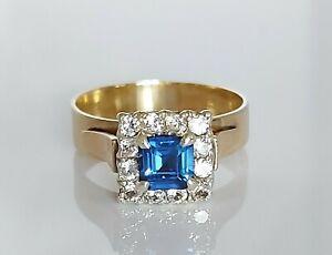 Beautiful Chunky 9ct Gold Ceylon Sapphire & Simulated Diamond Ring UK O 3.6g