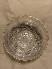 """Estate Sale Gold Rimmed Glass Candy Dish made in USA 5.5"""""""