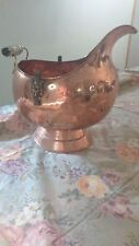 ANTIQUED COPPER  FIREWOOD BUCKET / HOLDER / TUB FOR FIREPLACE  & HEARTH LARGE SZ