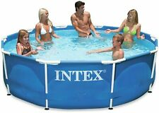 Intex - 10ft Metal Steel Frame Pool Set, Above Ground Swimming Pool with Pump
