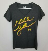 Under Armour Womens Small Fitted T-Shirt Race Ya V-Neck Gray Short Sleeve EUC