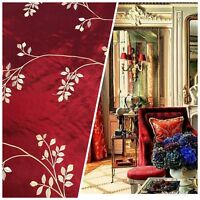 NEW! SALE! 100% Silk Taffeta Embroidered Floral Motif Fabric - Dark Red