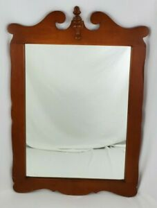 """Antique Wood Wall Mirror Federal Chippendale Colonial Mantle Vintage 32"""" x 22.5"""""""