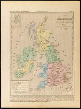 1859. Angleterre Écosse & Irlande en 900. Carte géographique ancienne par Houze