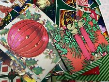 Vtg Holiday Christmas wrapping paper gift wrap assortment crafting scraps
