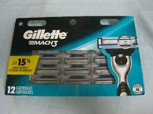Brand New & Sealed! Mens Gillette MACH3 Refills  Razor Blades - 12 Cartridges