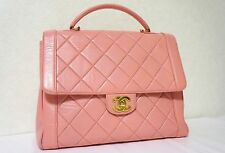 VINTAGE CHANEL Pink Lambskin Leather Kelly Tote Bag Executive Handbag N262