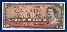1954 CANADA Canadian five 2 two DOLLAR BILL NOTE prefix Y/R Elizabeth crisp AU