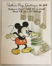 Rare 1936 4 color Hallmark Disney Old Style Mickey Mouse Fathers Day Card