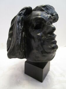 "Vtg Sculpture HEAD BUST artist A Rodin Repro in Paris Rudier Foundry 9 ¾"" tall"