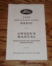 1939 Ford Radio Owners Manual Instruction Book 39