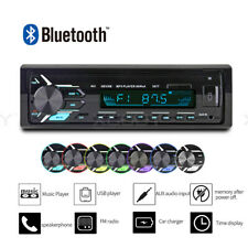Single 1 DIN Car Stereo MP3 Player Radio Bluetooth AUX-IN USB 7 Color Backlit
